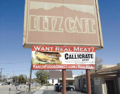At longtime downtown family diner, Detz Cafe, Callicrate Beef banner now on display