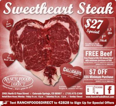 On Sale Now Show some love with a beautiful steak!
